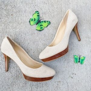 Tahari cream canva  pump shoes  heels size 9